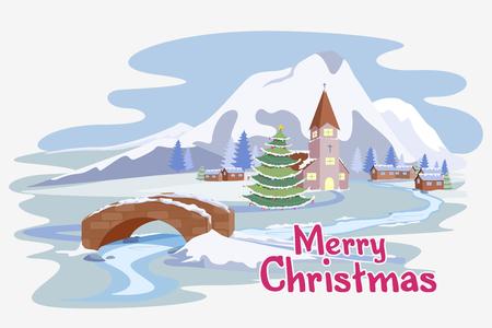 vector illustration of snowy landscape in Christmas night Illustration