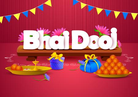 bahan: vector illustration of Bhai Dooj wallpaper background