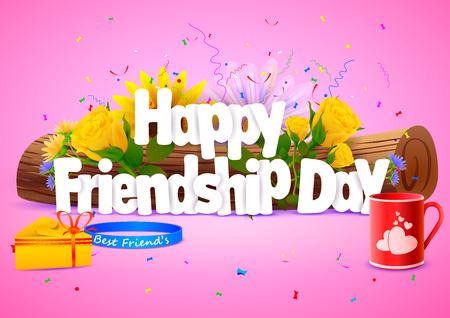 amistad: ilustración vectorial de Día feliz de la amistad papel tapiz de fondo Vectores