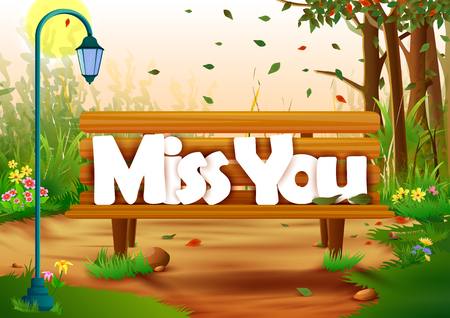 miss you: vector illustration of Miss You wallpaper background