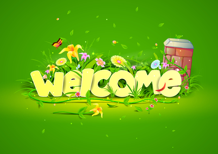 cordial: vector illustration of Welcome wallpaper background