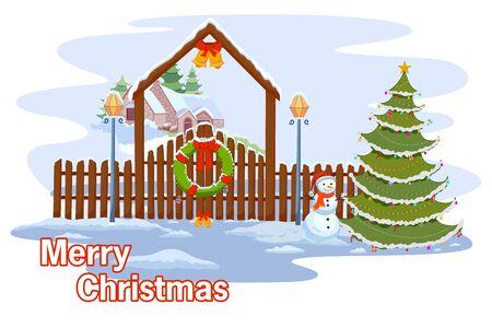 vector illustration of Snowman wishing Merry Christmas