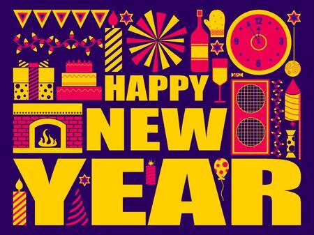 vector illustration of Happy New Year festival holiday celebration background