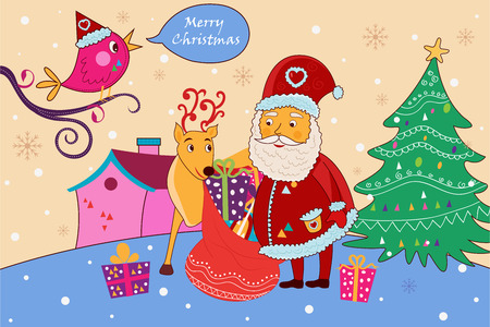 vector illustration of Santa with gift for Merry Christmas holiday celebration background Illustration