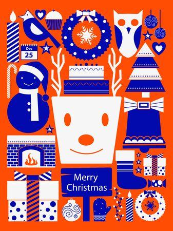 vector illustration of Merry Christmas festival celebration Holiday background Illustration