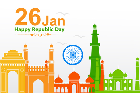 Famous monument in Indian background for Happy Republic Day