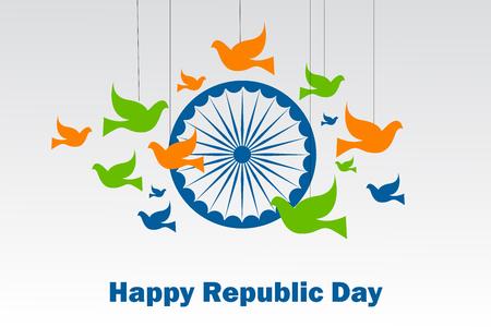 幸せ共和国日のインドの三色旗の背景のベクトル図