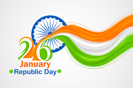 hindustan: vector illustration of Indian tricolor flag background for Happy Republic Day Stock Photo