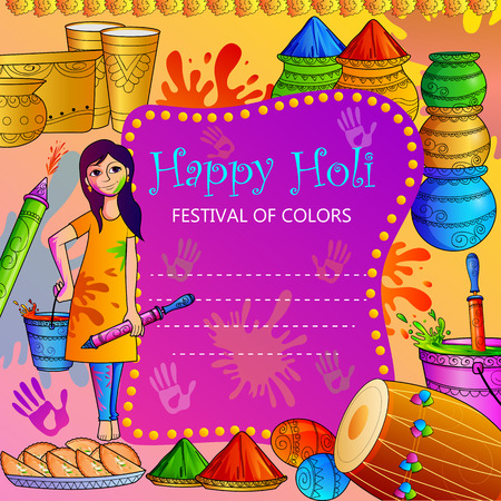 vector illustration of India Festival of Color Happy Holi background Stock Photo
