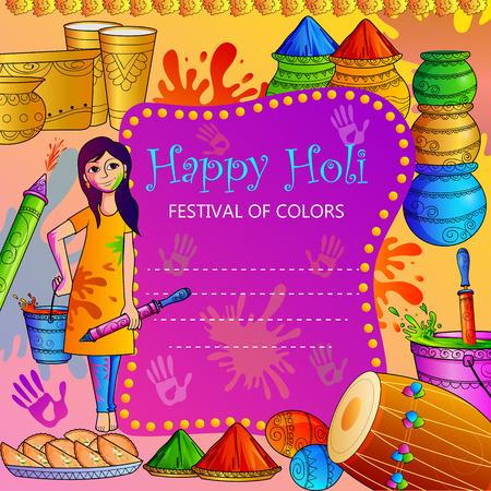 pichkari: vector illustration of India Festival of Color Happy Holi background Stock Photo