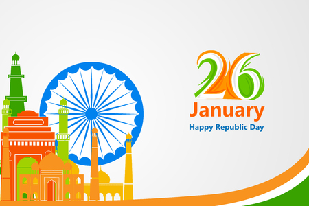 qutub minar: illustration of famous monument in Indian background for Happy Republic Day