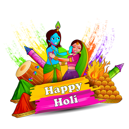 radha: vector illustration of India Festival of Color Happy Holi background Illustration
