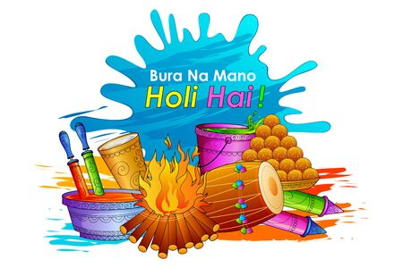 colors paint: vector illustration of India Festival of Color Happy Holi background Illustration