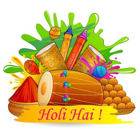 pichkari: vector illustration of India Festival of Color Happy Holi background Illustration