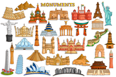 great wall: Sticker collection for world famous monument and building