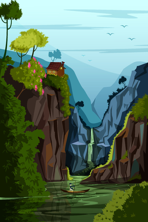 terrain: vector illustration of Nature Landscape scenery Background