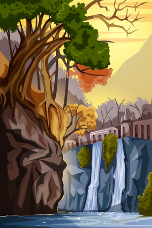 waterfall in forest: Nature Landscape scenery Background Illustration