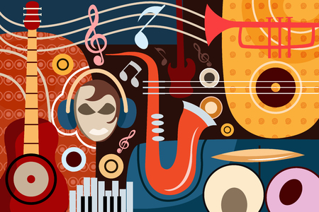 electronic background: vector illustration of abstract Music collage background