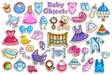 people icon: Sticker collection for baby object collection Illustration