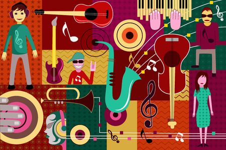 electronic music: vector illustration of abstract Music collage background