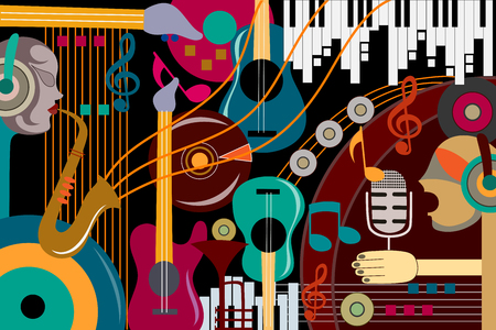 electronic music: Abstract Music collage background