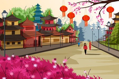 Hanging lantern decorated city of China