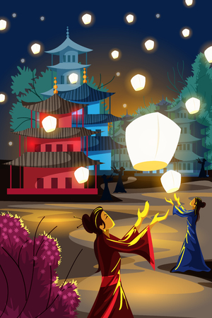 Chinese lantern floating in night sky Illustration