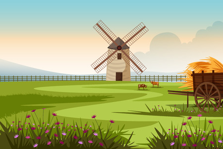 european culture: Rural farm landscape with windmill