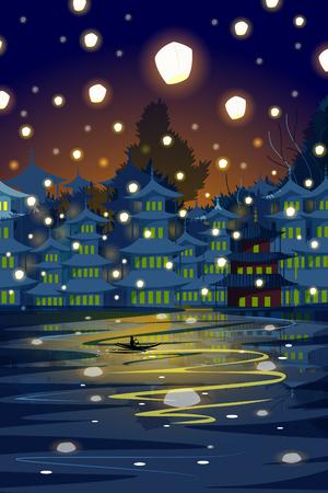 Chinese lantern floating in night sky Illustration