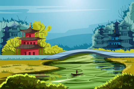 Hermoso paisaje escénico de China rural