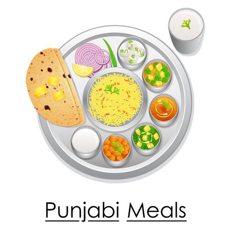 ensalada de frutas: Plato lleno de deliciosa comida Punjabi