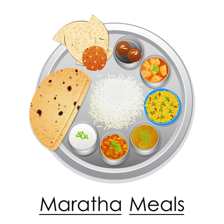Plate full of delicious Maratha Meal Illustration