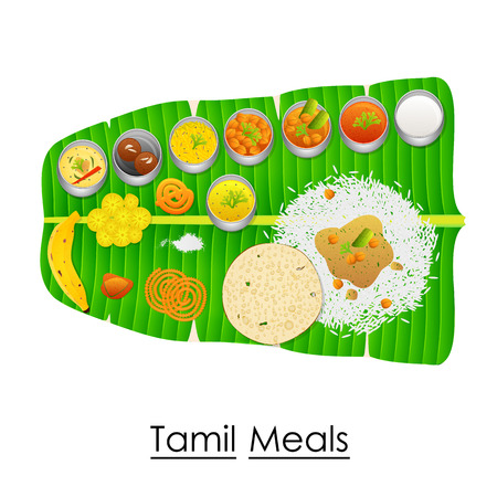 Delicious Tamil Meal on Banana Leaf