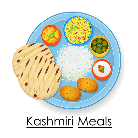 Plate full of delicious Kashmiri Meal Illustration