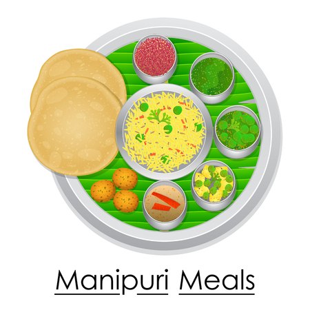 Plate full of delicious Manipuri Meal