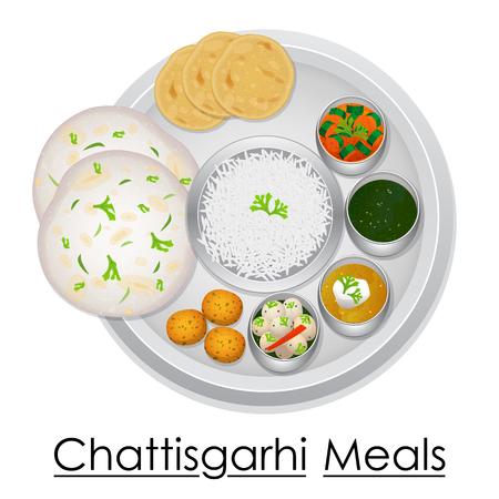 Plate full of delicious Chhattisgarhi Meal Illustration