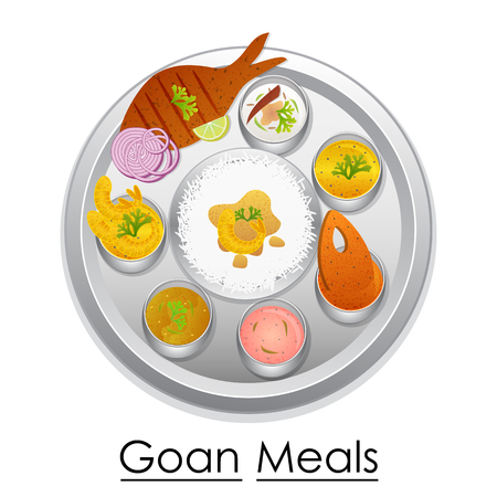 Plate full of delicious Goan Meal