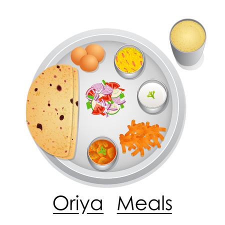 food preparation: Plate full of delicious Oriya Meal Illustration