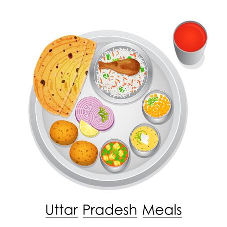 thali: Plate full of delicious Uttar Pradesh Meal Illustration