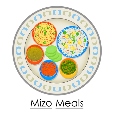 Plate full of delicious Mizo Meal