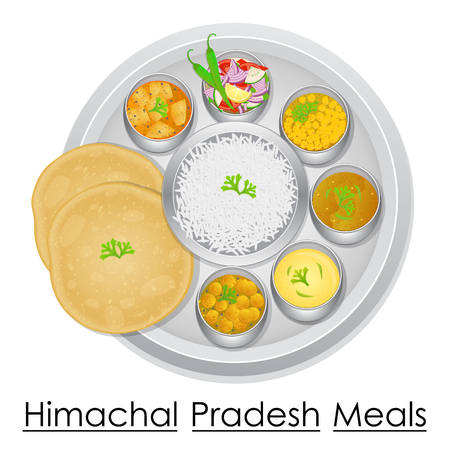 Plate full of delicious Himachal Pradesh Meal Illustration