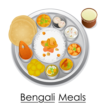 dessert buffet: Plate full of delicious Bengali Meal