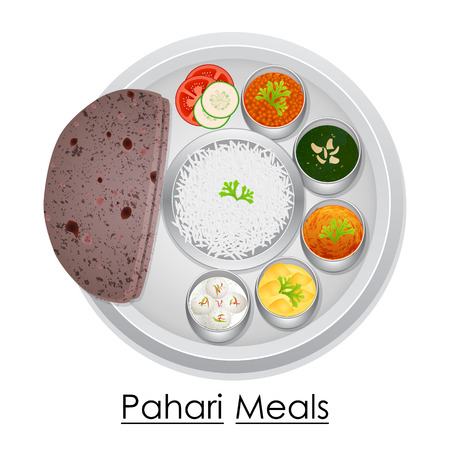 Plate full of delicious Pahari Meal