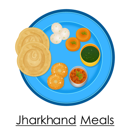plate: Plate full of delicious Jharkhand Meal Illustration