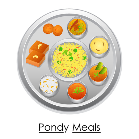 chutney: Plate full of delicious Pondy Meal Illustration