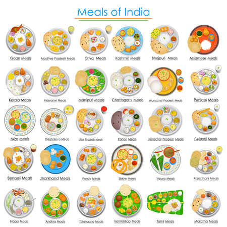 Plate full of delicious Meals of India