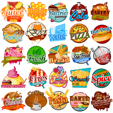 Vector illustration of label and tag sticker for different Food item. Vector Illustration