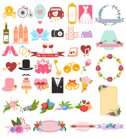 holiday party: Wedding and Valentine Love icon set