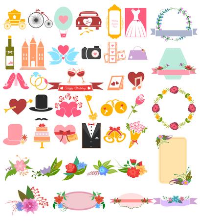 girl: Wedding and Valentine Love icon set