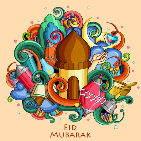 Eid Mubarak Blessing for Eid background Vettoriali